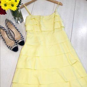 BCBG yellow layered spaghetti strap dress
